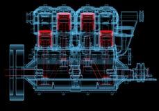 Motor de combustión interna (transparentes rojos y azules de la radiografía 3D) Imagen de archivo