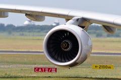 Motor de jato e asa de aviões Imagem de Stock Royalty Free