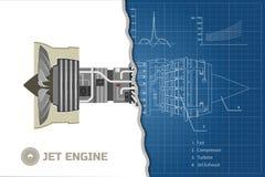 Motor de jato em um estilo do esboço Modelo industrial do vetor Peça dos aviões Vista lateral Ilustração do vetor ilustração royalty free