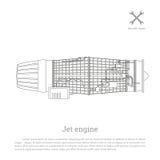 Motor de jato em um estilo do esboço Peça dos aviões Vista lateral Imagens de Stock Royalty Free