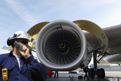 Motor de jet de la ingeniería de los aviones Imagenes de archivo
