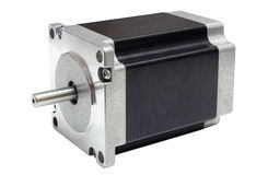 Motor de pasos de la impulsión linear del eje del CNC en el fondo blanco Fotografía de archivo libre de regalías