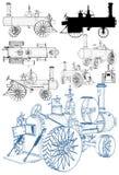 Motor de trator retro velho do vapor isolado no vetor branco do fundo ilustração royalty free