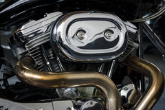 Motor de um motocycle Harley-Davidson Custom Bike Foto de Stock