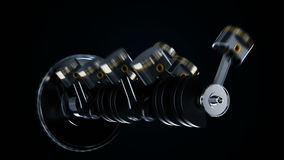 Motor de V8 con los pistones y los cigüeñales de trabajo Concepto de motor de automóvil ilustración del vector