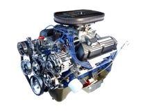 Motor de V8 del cromo del alto rendimiento aislado fotografía de archivo