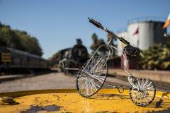 Motor de vapor con el ciclo atado con alambre fotografía de archivo libre de regalías