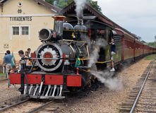 Motor de vapor Tiradentes locomotor el Brasil Imagenes de archivo