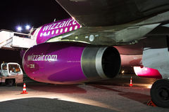 Motor de Wizz Air Airbus A320 Imagens de Stock Royalty Free