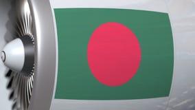 Motor del aeroplano con la bandera de Bangladesh Animación conceptual 3D del transporte aéreo de Bangladesh almacen de video