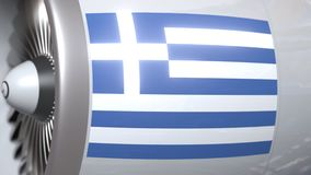 Motor del aeroplano con la bandera de Grecia Animación conceptual 3D del transporte aéreo griego almacen de video