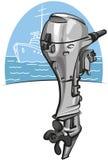 Motor del barco externo stock de ilustración