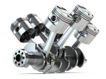 Motor del cigüeñal V6 stock de ilustración