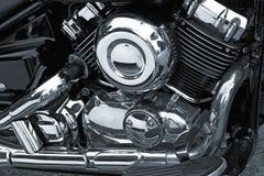 Motor del cromo de la motocicleta Imagen de archivo libre de regalías