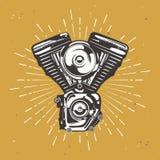 Motor del moto del vintage con la explosión retra de la estrella ilustración del vector