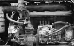 Motor diesel retro del tractor Foto blanco y negro de Pekín, China Fotografía de archivo libre de regalías
