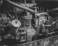 Motor diesel retro del tractor Foto blanco y negro de Pekín, China Fotos de archivo libres de regalías