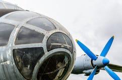Motor do avião com hélice, partes da fuselagem de aviões imagem de stock royalty free