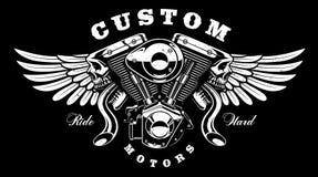 Motor do monstro com projeto do t-shirt das asas no fundo escuro ilustração stock