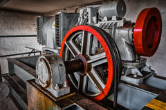 Motor driven elevator. In the engine room Royalty Free Stock Images