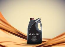Motor eller motorisk olja på den ljusa guld- bokehbakgrunden med behållare, illustration 3d Royaltyfri Illustrationer