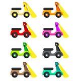 Motor en ocho diversos colores y una lámpara stock de ilustración