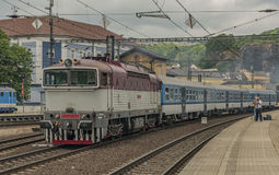 Motor engine train in Usti nad Labem Stock Image