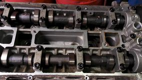 Motor engine without valve cover. stock video footage
