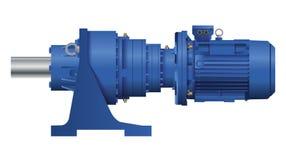 Motor för planetariskt kugghjul med den elektriska motorn white för vektor för bakgrundsillustrationhaj 3d royaltyfri illustrationer