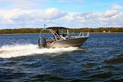 Motor fast boat in baltic sea power boating Stock Images