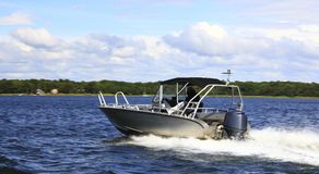 Motor fast boat in baltic sea power boating Stock Photos