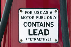 Motor Fuel Containing Lead Sign Stock Images