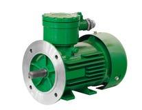 Motor-generador eléctrico asincrónico verde a prueba de explosiones industrial aislado en el fondo blanco explosivo protegido imagen de archivo libre de regalías