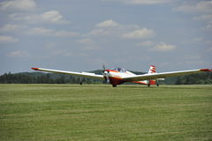 Motor Glider. Starting at a rural airport in Franconia, North-Bavaria, South-Germany Royalty Free Stock Photography