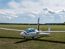 Motor Glider. A motor glider at the sports air field of Luesse, Germany Royalty Free Stock Photo