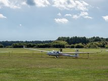 Motor Glider. A motor glider at the sports air field of Luesse, Germany Stock Photos