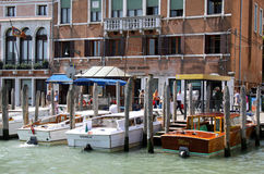 Motor gondolas in Venice for tourist transport Royalty Free Stock Photos