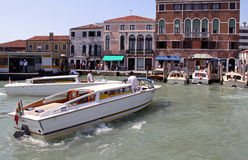 Motor gondolas in Venice for tourist transport Royalty Free Stock Photography