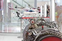 Motor of helicopter on exhibition Stock Images