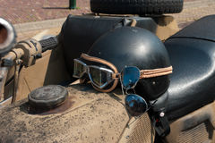 Motor helmet with sunglasses Royalty Free Stock Photography