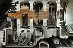 Motor in hhalf wordt gesneden die Stock Afbeelding
