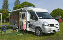Motor home. On camping area Stock Images