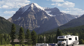 Motor Home at Mount Robson, Canada Royalty Free Stock Photo