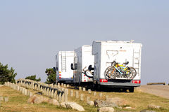 Motor home parked. Atop Mount Aigoual in the Cevennes National Park Royalty Free Stock Photography