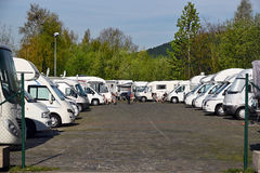 Motor home parking Malmedy. MALMEDY, BELGIUM - MAY 6, 2016: Recreational vehicle parking Malmedy. Location dedicated for motorhomes in Malmedy a Walloon city and Stock Images