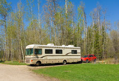 A motor-home at a rest area in british columbia Stock Image