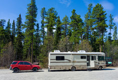 A motor-home at a rest area in the yukon territories Stock Image