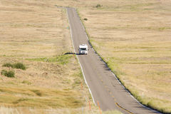 Motor home on road, elevated view Royalty Free Stock Image
