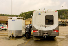 A motor-home with toys resting at a walmart parking lot in northern canada Royalty Free Stock Photos