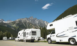 Motor homes in canadian rockies. British Columbia. Canada Royalty Free Stock Photos